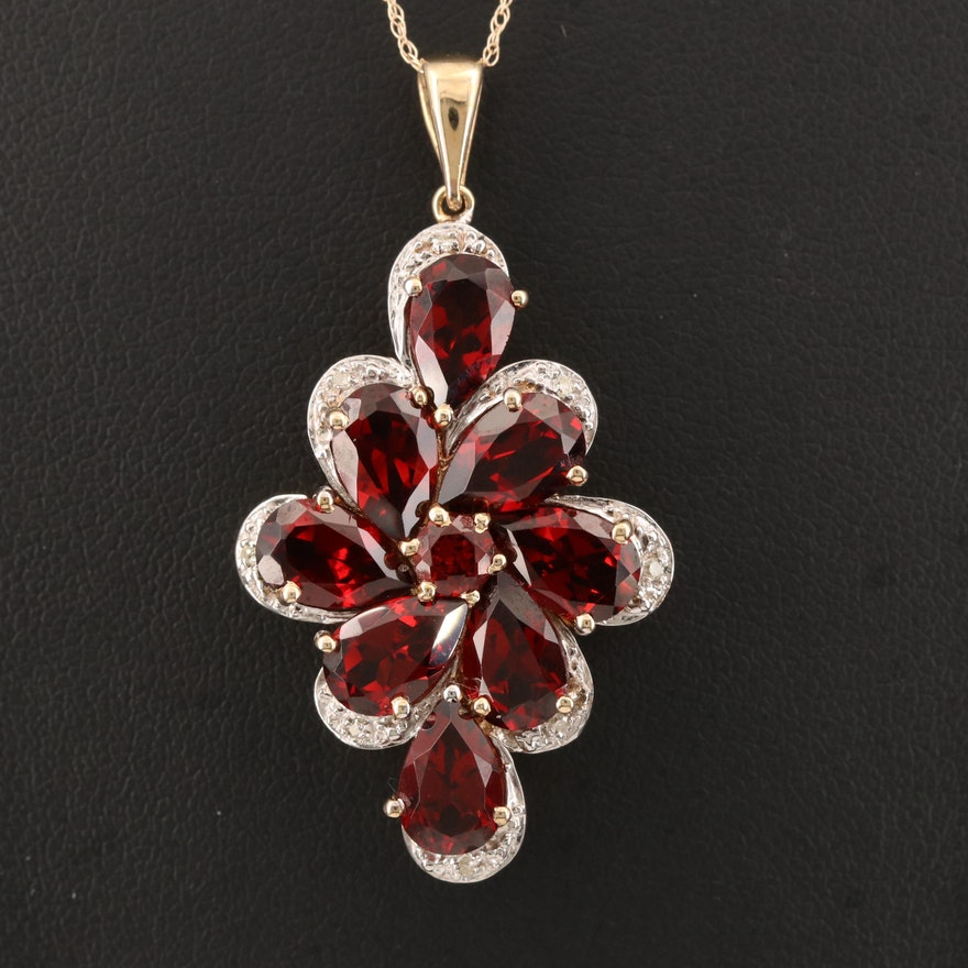 10K Garnet and Diamond Pendant on 14K Chain