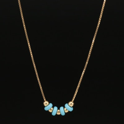 18K and Imitation Turquoise Bead Necklace