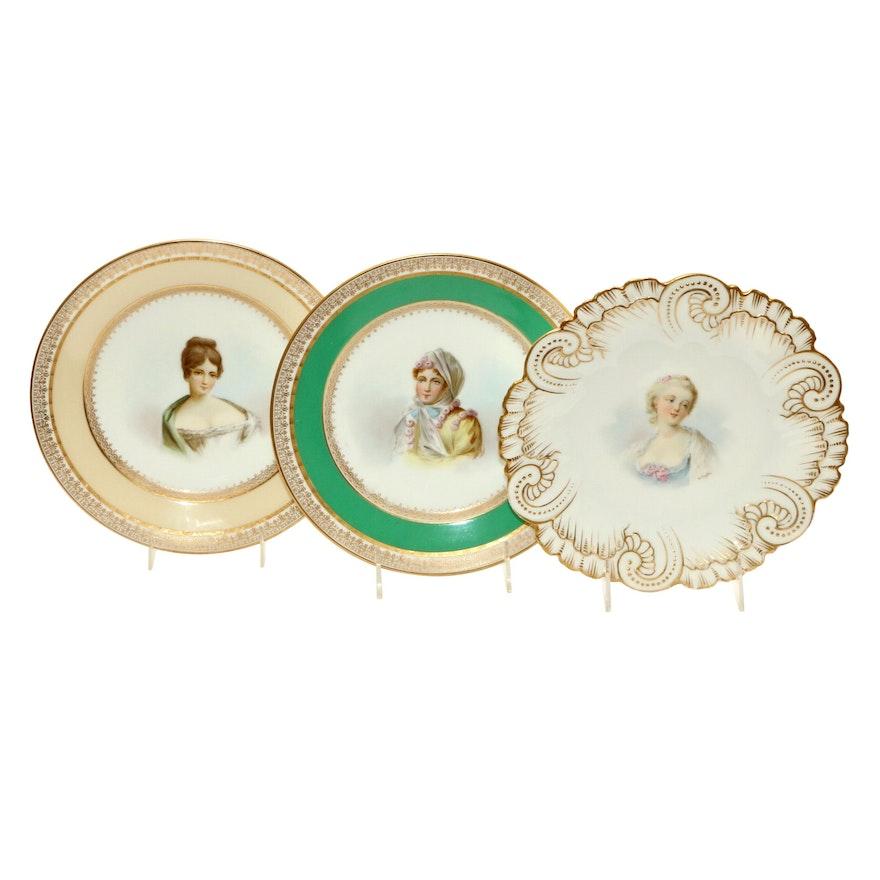 Sèvres Porcelain Hand-Painted Portrait Plates, Early 19th Century