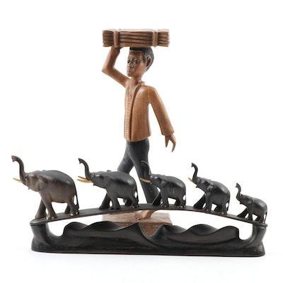 E. Jeanty Haitian Folk Art Wood Figure of a Man with Ebonized Wood Elephants