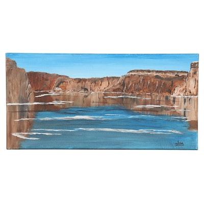 Jim Vander Wiel Acrylic Painting of Craggy Coastal Inlet, 2019