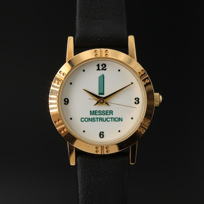 Messer Construction Gold Tone Novelty Wristwatch