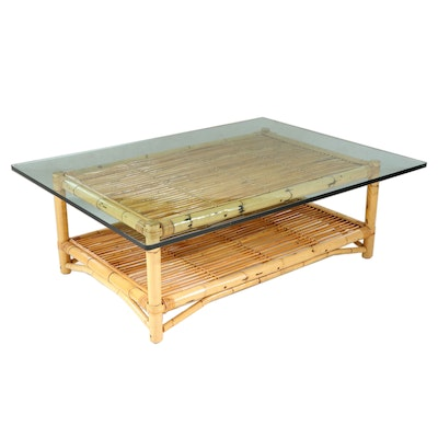 Bamboo Coffee Table with Tempered Glass Top, Late 20th Century