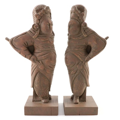 Chinese Folk Art Carved Wooden Warrior Figurines, Mid to Late 20th Century