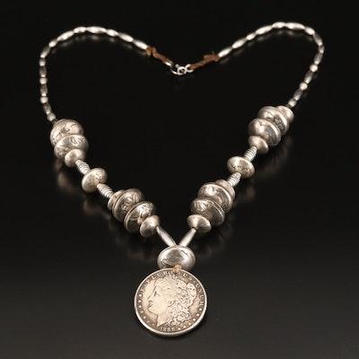 Reproduction 1888-S Morgan Dollar, Buffalo Nickles and Silver Dimes Necklace