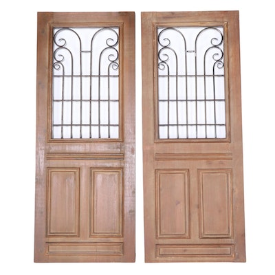 Pair of Architectural Style Metal-Mounted Pine Wall Panels
