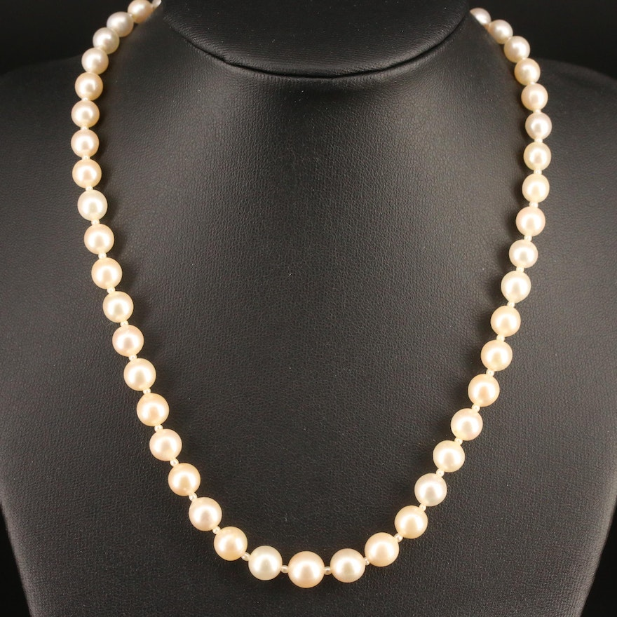 Graduated Pearl and Diamond Necklace with 18K and Platinum Clasp