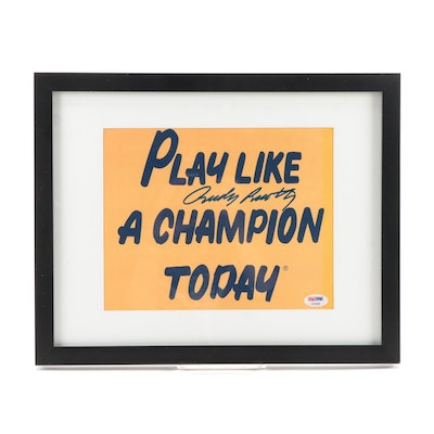 "Rudy Ruettiger Signed ""Play Like A Champion Today"" Notre Dame  Framed Print, PSA"