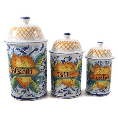 Italian Majolica Hand-Painted Ceramic Biscotti, Coffee, and Sugar Jars