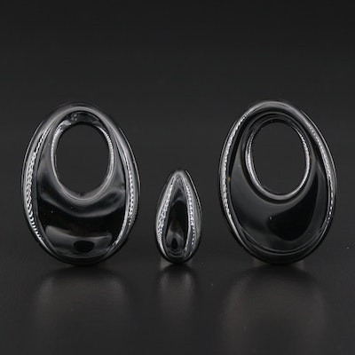 Loose Black Onyx Selection Featuring Pear Cabochon and Drop Shapes