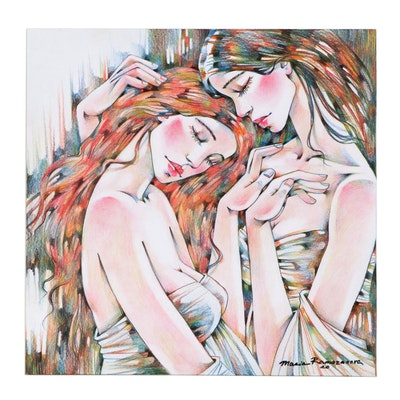 Maria Ramazanova Colored Pencil Drawing of Embracing Women