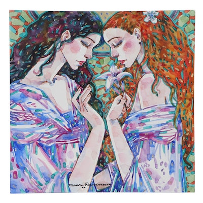 Maria Ramazanova Watercolor Painting of Women and Lily