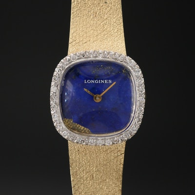 1977 Longines 14K Diamond Stem Wind Wristwatch with Lapis Lazuli Dial