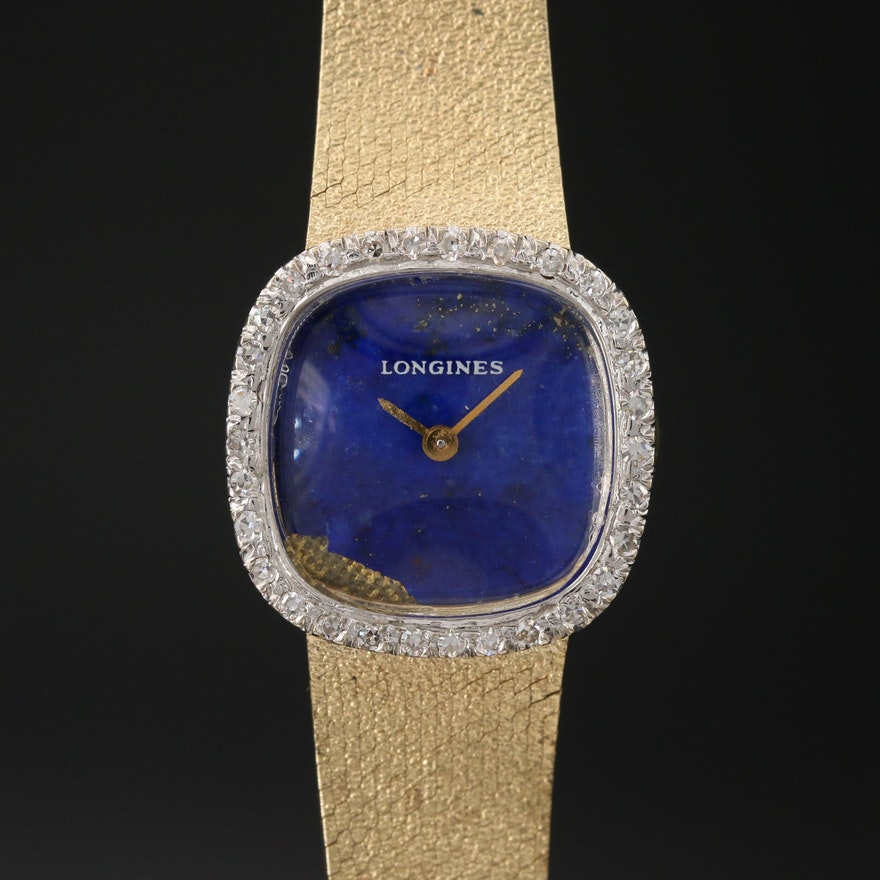 1977 Longines 14K Diamond Stem Wind Wristwatch with Lapis Lazuli Dial