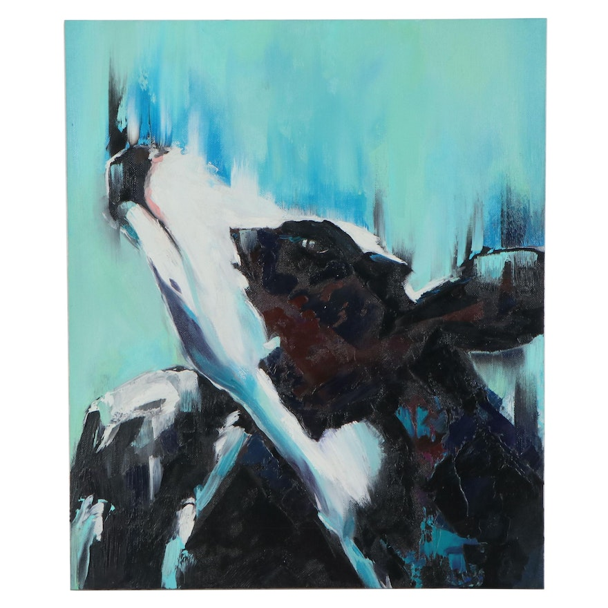 Elena Ray Oil Painting of Cow, 2020