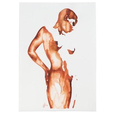 Alyona Glushchenko Watercolor Painting of Female Figure