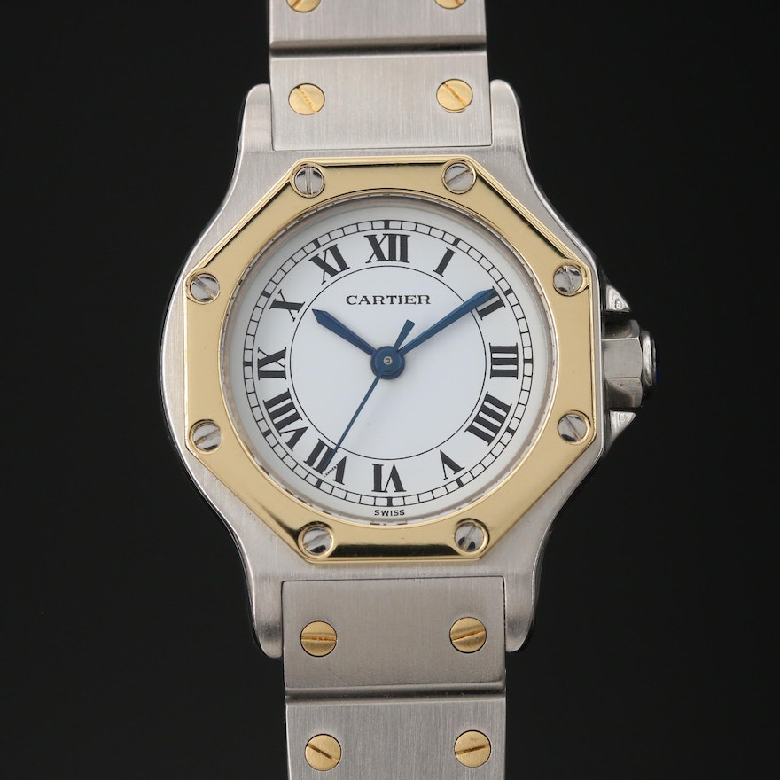 Vintage Cartier Santos Ronde 18K and Stainless Steel Automatic Wristwatch