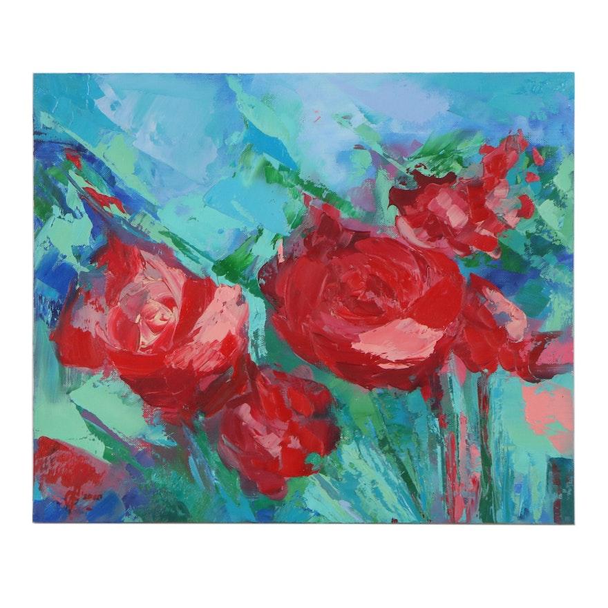 Alyona Glushchenko Floral Oil Painting, 2020