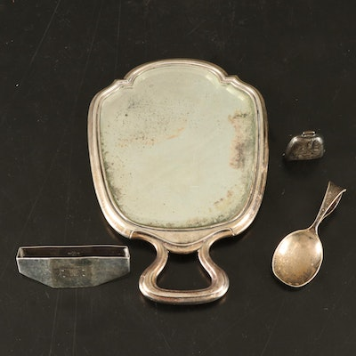 Sterling Silver Baby Rattle and Spoon, Victorian Hand Mirror, and Napkin Ring