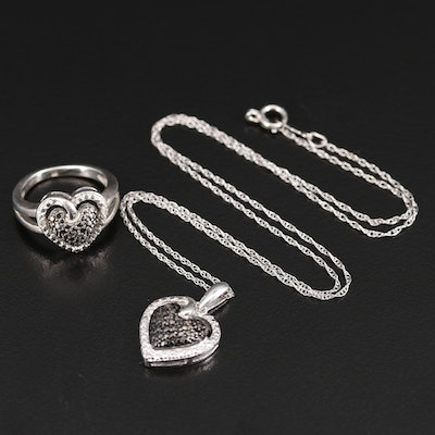Sterling Silver Diamond Heart Necklace and Ring Set