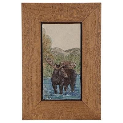 John Beasley Hand-Painted Relief Ceramic Tile of Moose