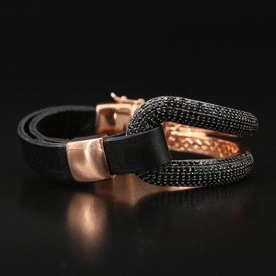 Bronze Black Spinel Loop Leather Bracelet