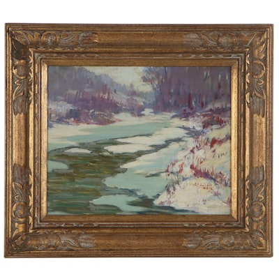 Elizabeth Heil Alke Winter Landscape Oil Painting, Early 20th Century
