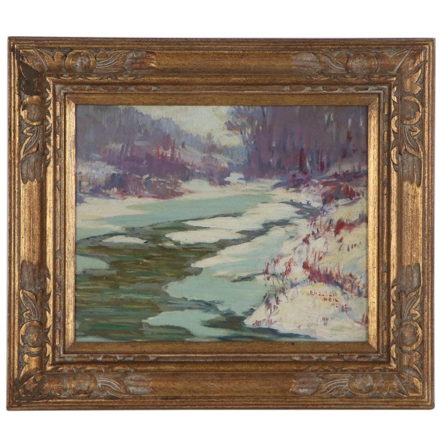 Elizabeth Heil Alke Winter Landscape Oil Painting, Early 20th Century