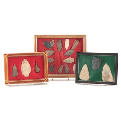 Native American Knapped Flint Projectile Points and Arrowheads in Display Boxes