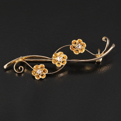 Antique 9K Rose Cut Diamond Brooch