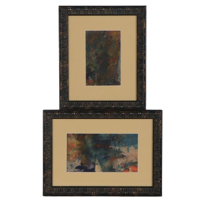 "Abstract Watercolor Paintings ""Hidden Path"" and ""In the Forest"""