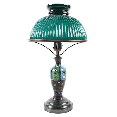 Japanese Cloisonné Style Oil Converted Electric Table Lamp