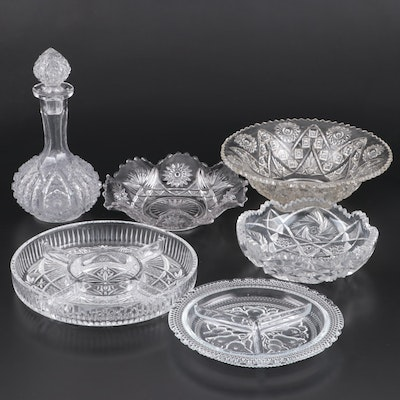 Cut and Pressed Glass Serving Bowls, Divided Dishes and Decanter