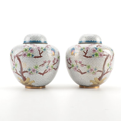 Chinese Cloisonné Metal Ginger Jars with Cherry Blossom Motif