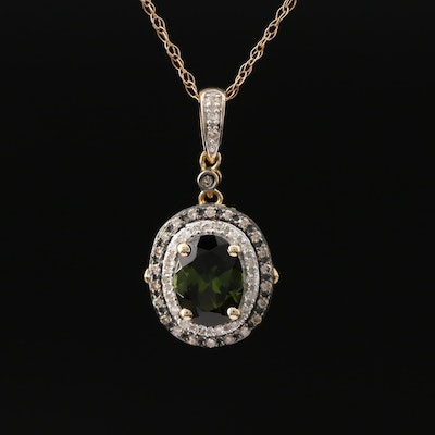 10K Tourmaline and Diamond Pendant Necklace