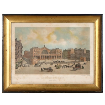Phillippe Benoist Hand-Colored Lithograph of Railway Station, late 19th Century
