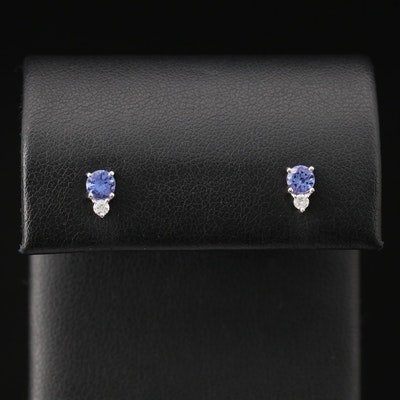 10K Tanzanite and Diamond Stud Earrings