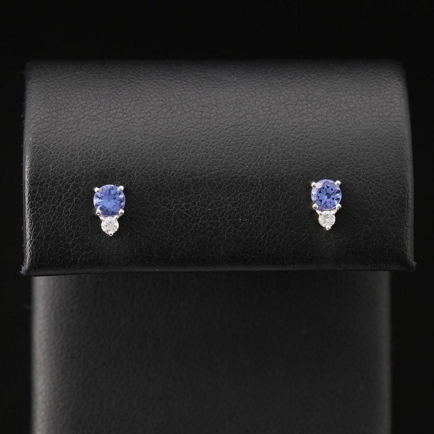 10K Tanzanite and Diamond Stud Earrings