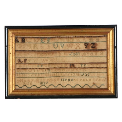 Mary Benedict Cross-Stitch Alphabet Sampler, 1829