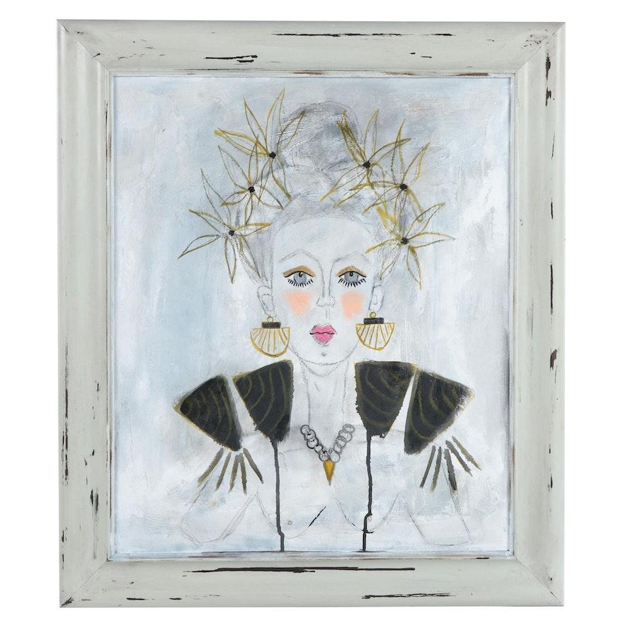 Jordan Howell Mixed Media Painting of Flower-Crowned Figure
