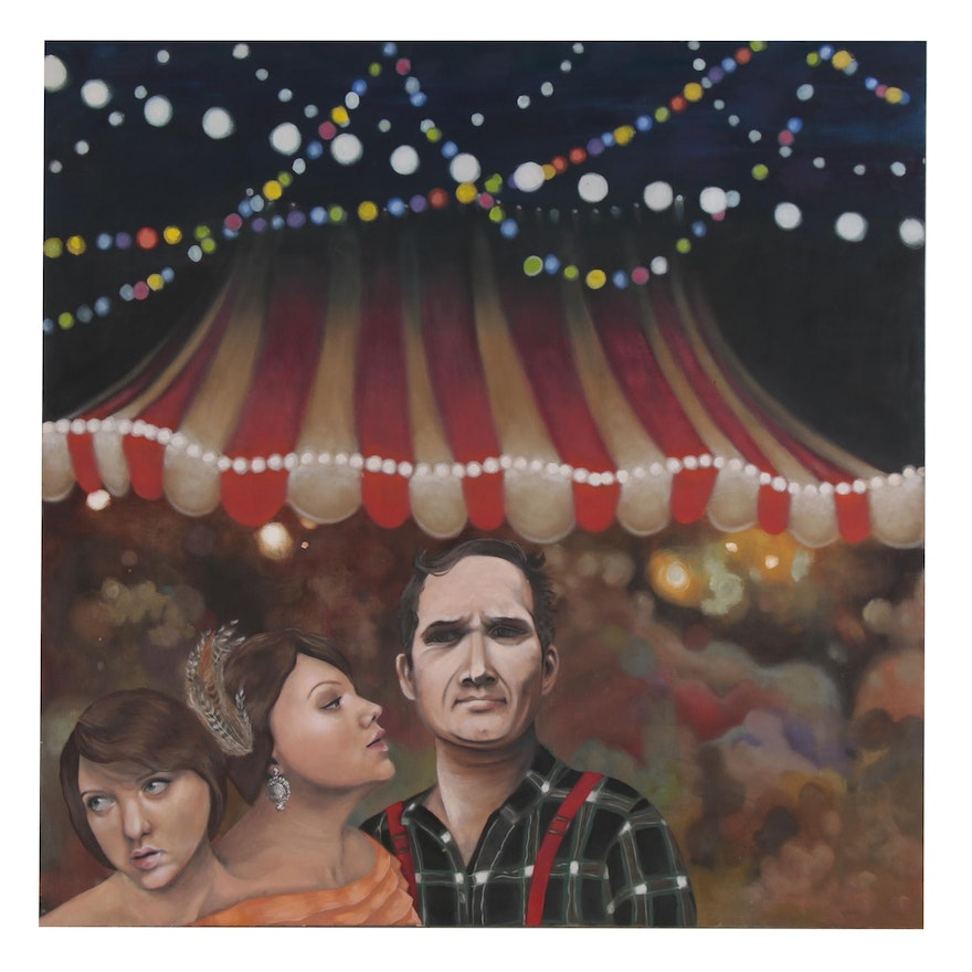 Large-Scale Oil Painting of Figural Circus Scene, 21st Century