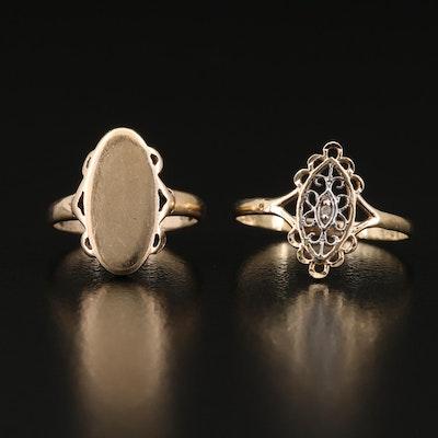 10K Diamond Ring and 10K Signet Ring