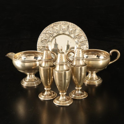 Hazorfim Sterling Silver Kiddush Cup Plate and Other Sterling Table Accessories