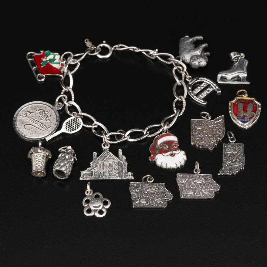 Sterling Silver Charm Bracelet with Additional Charms