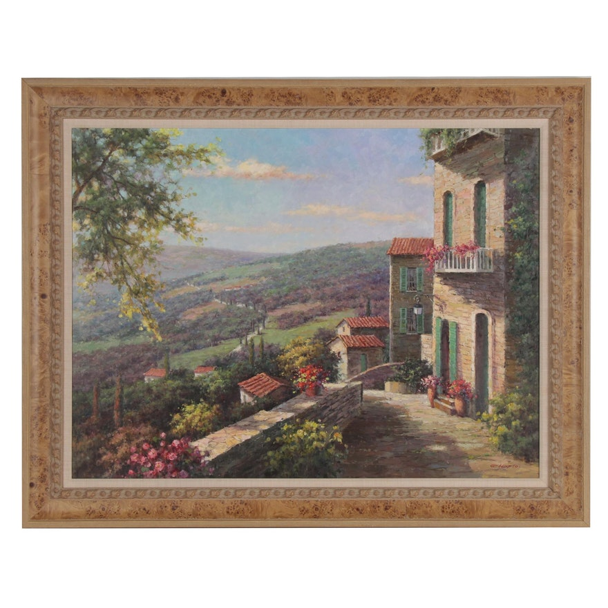 "Oil Painting ""View from the Villa,"" 21st Century"