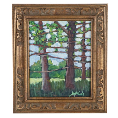 "Jay Wilford Oil Painting ""Red Pine Grove"""