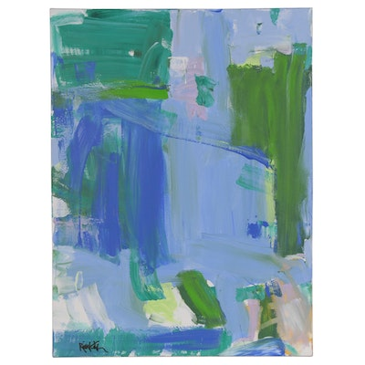 "Robbie Kemper Abstract Acrylic Painting ""Blue Green Color Blocks"""