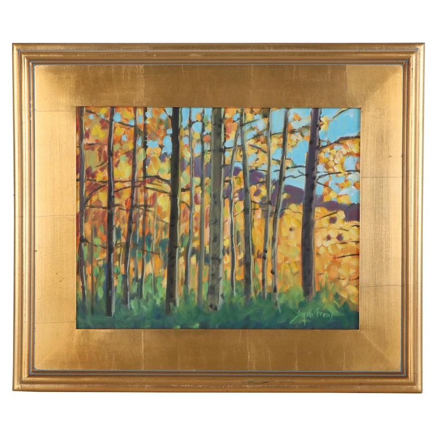 "Jay Wilford Oil Painting ""Aspen Grove"""