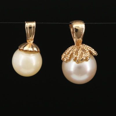 14K Yellow Gold Pearl Pendants