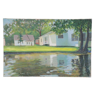 "Jay Wilford Oil Painting ""Lake Cottages"""